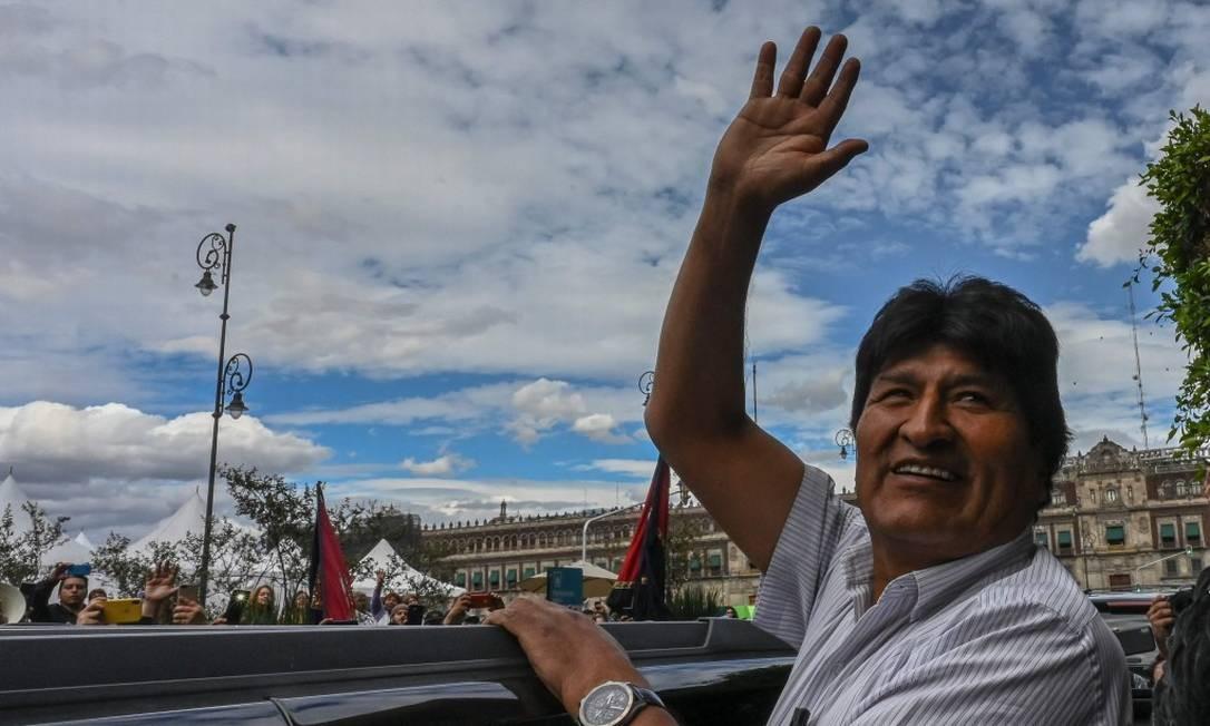 Evo Morales, na prefeitura da Cidade do México: renúncia após pressão na Bolívia Foto: PEDRO PARDO / AFP