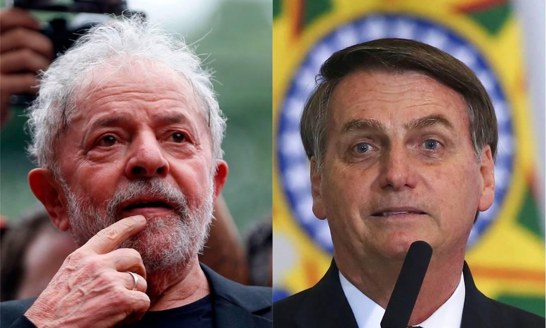 Ex-presidente Luiz Inácio Lula da Silva e presidente, Jair Bolsonaro Foto: Miguel Schincariol e Sergio Lima/AFP