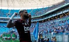 Gabigol comemora seu gol na Arena do Grêmio Foto: DIEGO VARA / REUTERS