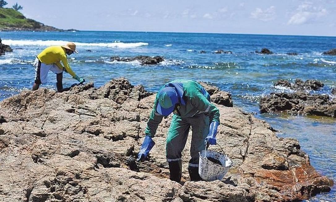 Voluntários participam de operação de coleta de óleo em praia de Salvador Foto: Felipe Iruatã/Zimel Press/3-11-2019