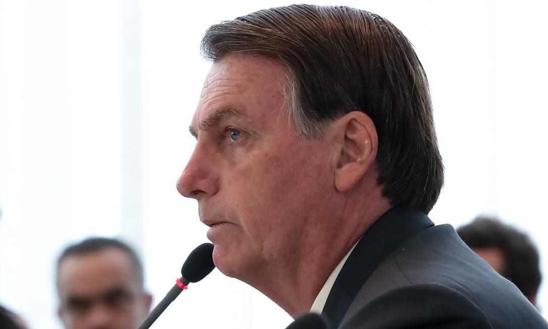 O presidente Jair Bolsonaro em reunião no Palácio do Planalto Foto: Marcos Corrêa/Presidência