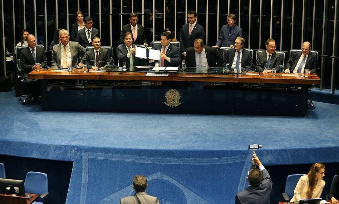 Promulgação da reforma da Previdência no Senado. Foto: Jorge William / Agência O Globo