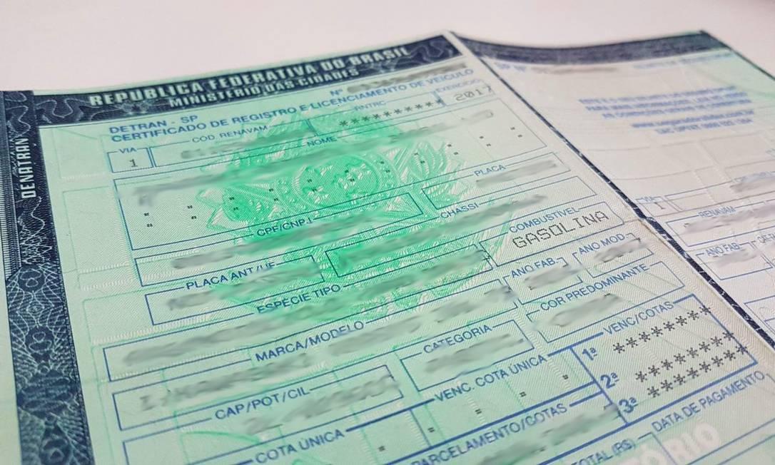 Certificado de Registro e Licenciamento de Veículos Foto: Rafael Miotto/G1