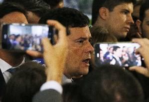 O ministro da Justiça, Sergio Moro, em entrevista à imprensa Foto: Jorge William / Agência O Globo
