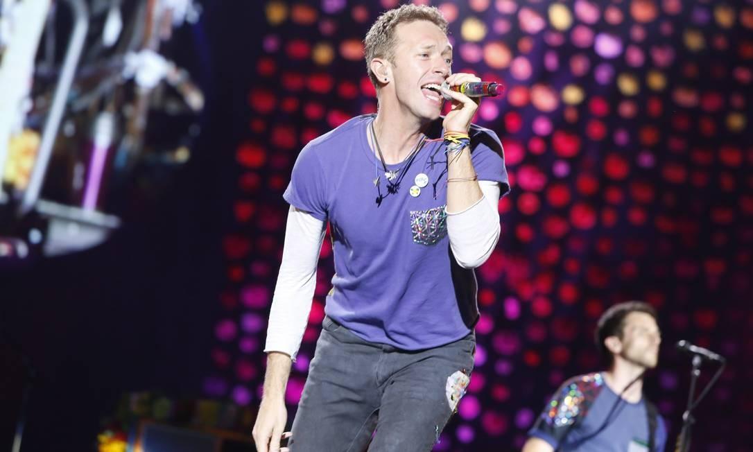 Chris Martin durante show do Coldplay no Maracanã, em 2016 Foto: Bárbara Lopes / Agência O Globo