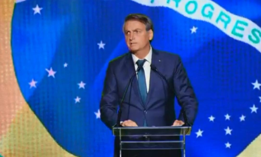 O presidente Jair Bolsonaro discursa no lançamento do partido 'Aliança Brasil' Foto: Reprodução/Facebook