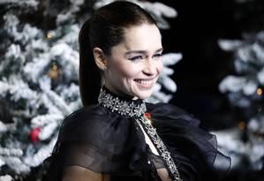 Emilia Clarke durante a première do filme 'Last Christmas' em 11 de novembro, em Londres Foto: TOLGA AKMEN / AFP