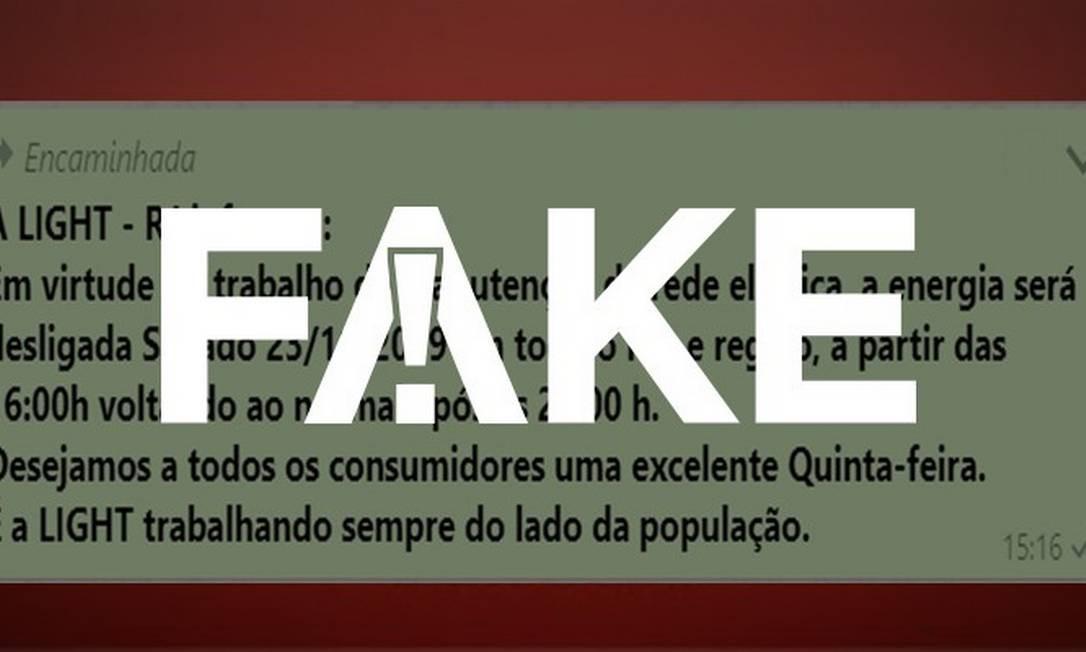 É #Fake que companhias de energia pelo país programaram cortes de luz Foto: G1
