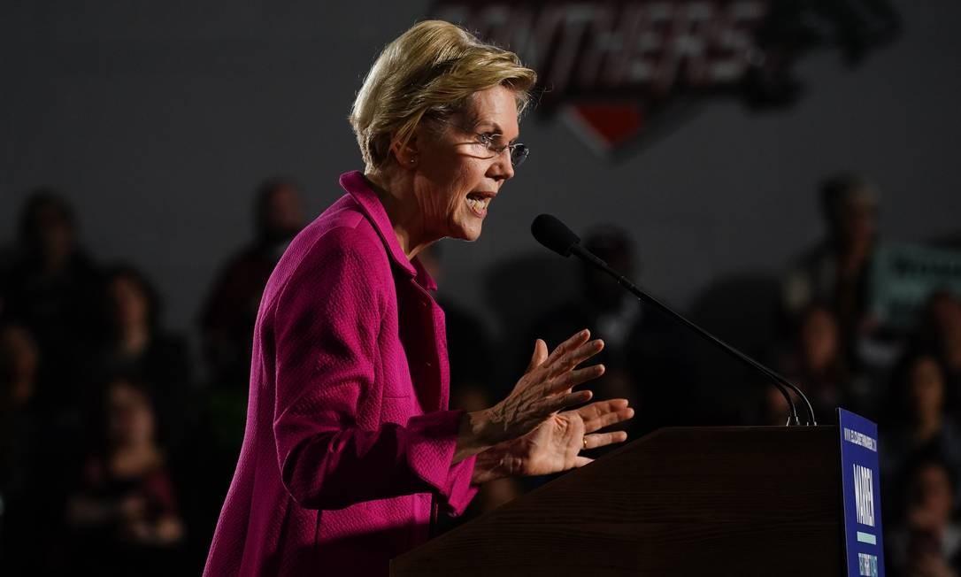 Elizabeth Warren, pré-candidata democrata à Presidência dos EUA, durante evento de campanha em Atlanta, Geórgia Foto: Elijah Nouvelage / AFP/21-11-2019