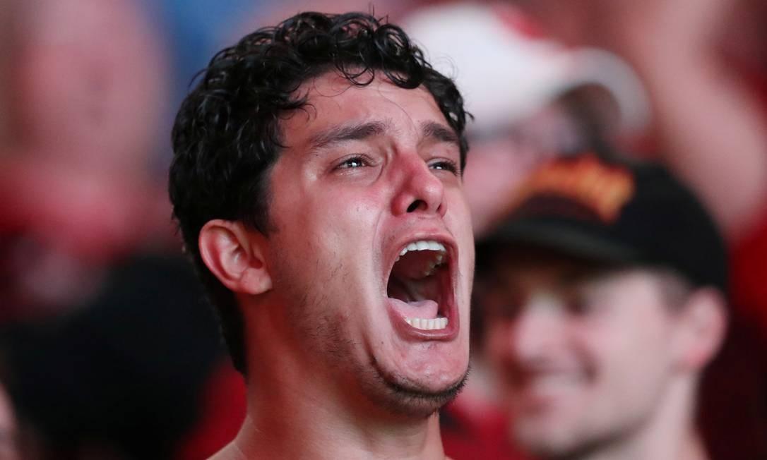 Torcedor do Flamengo grita após virada no placar Foto: SERGIO MORAES / REUTERS