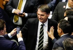 Jair Bolsonaro, durante sessão especial conjunta do Senado Federal e da Câmara dos Deputados Foto: Walterson Rosa / FramePhoto - 06/11/2018