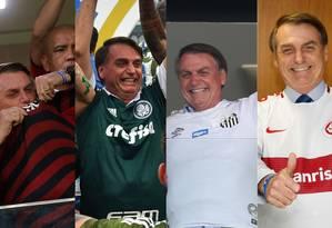 Presidente Jair Bolsonaro com as camisas de Flamengo, Palmeiras, Santos e Internacional Foto: Montagem