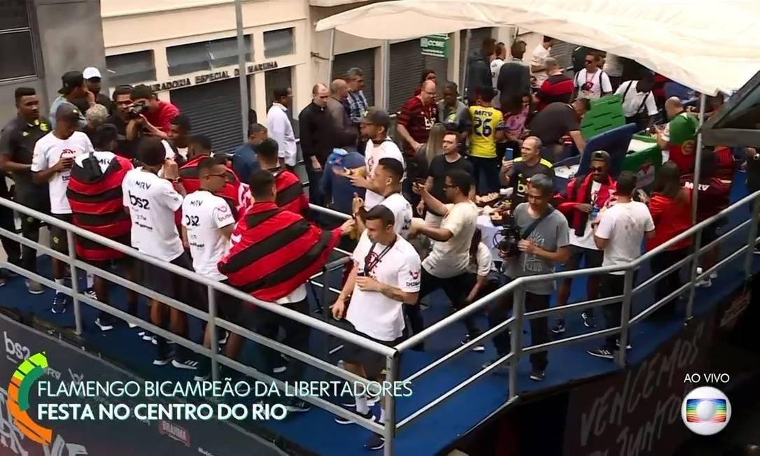 O governador Wilson Witzel no trio elétrico do Flamengo Foto: Reprodução / TV Globo
