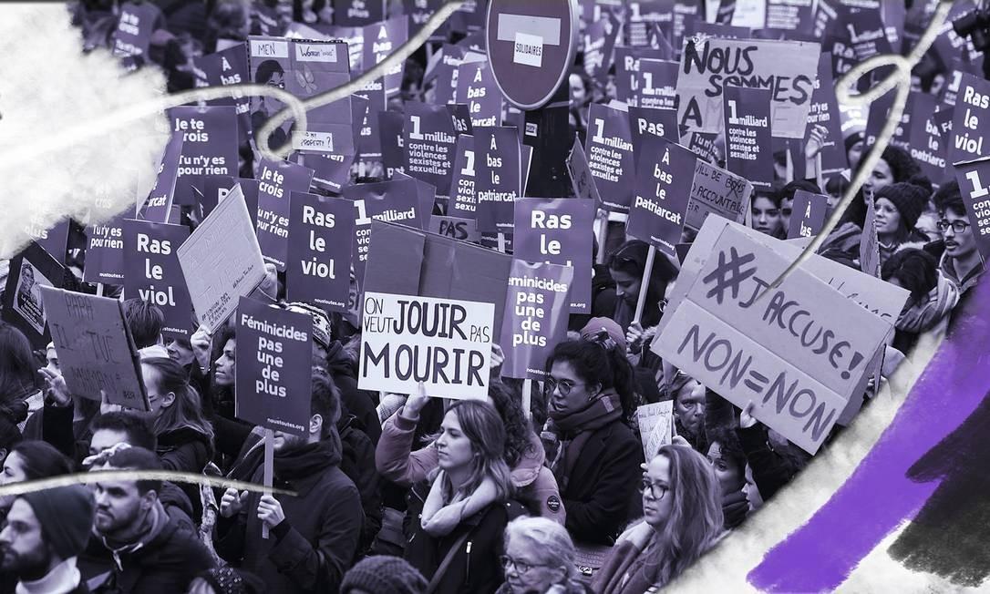 Manifestantes nas ruas de Paris protestam contra o feminicídio Foto: Alain Jocard / AFP /23.11.2019
