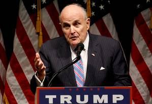 Advogado pessoal do presidente Donald Trump, Rudy Giuliani, durante comício no estado americano de Iowa Foto: Jonathan Ernst / REUTERS/28-09-2016