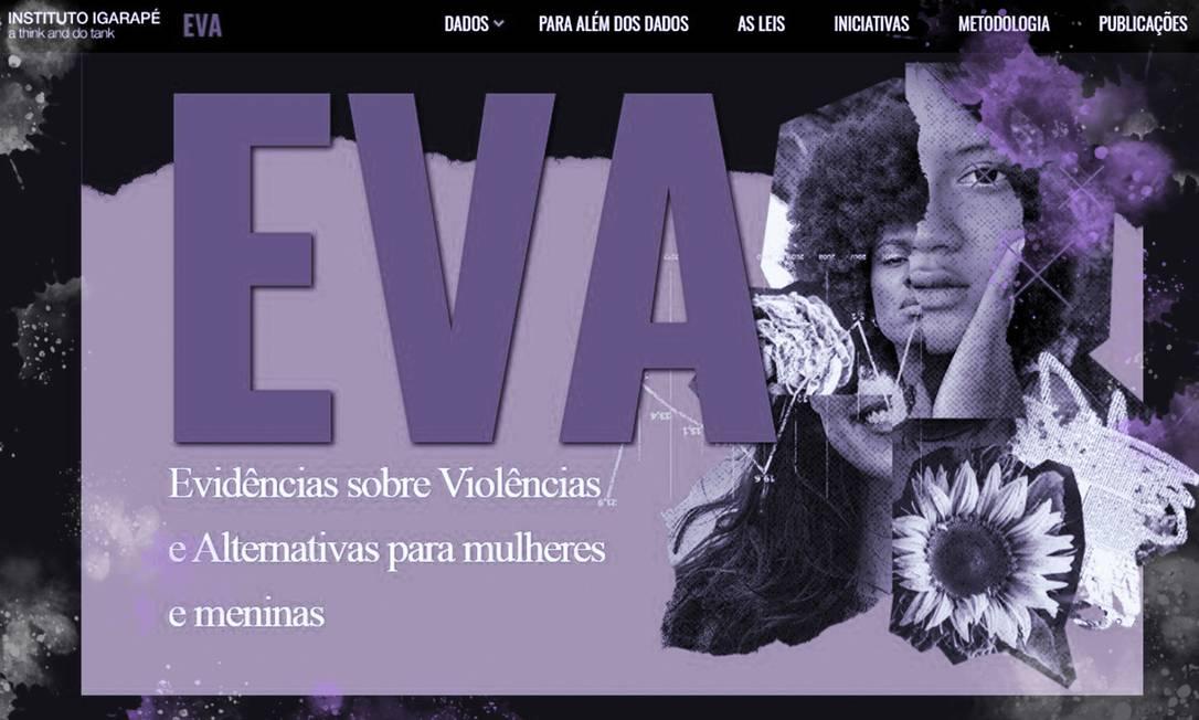 Plataforma Eva, do Instituto Igarapé, é um banco de dados sobre violência contra a mulher no Brasil, México e Colômbia Foto: Reprodução