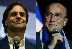 Luis Lacalle Pou e Daniel Martínez: resultado apertado na eleição uruguaia Foto: AFP
