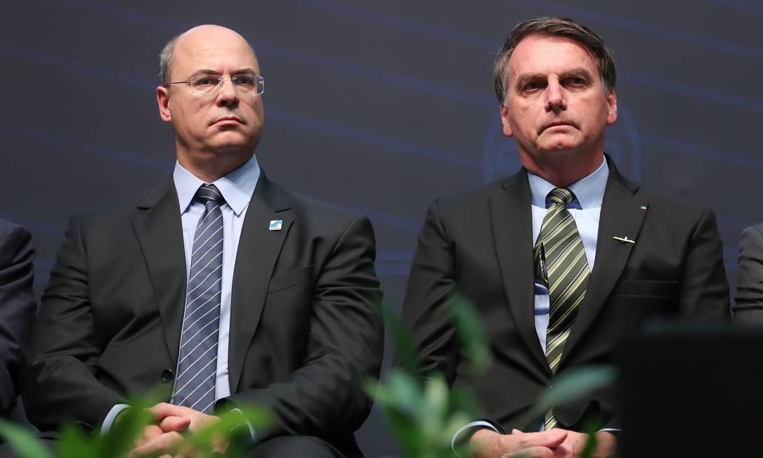 O presidente da República, Jair Bolsonaro, ao lado do governador do estado do Rio de Janeiro, Wilson Witzel, em 11/10/2019 Foto: Marcos Corrêa / Agência O Globo