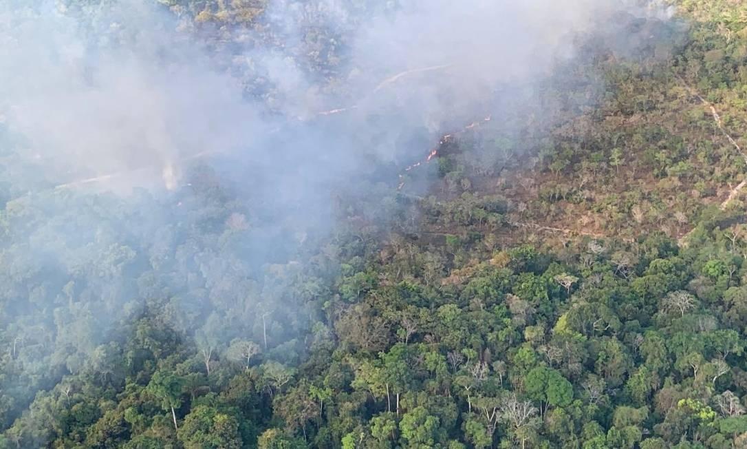 Alter do Chão (Pará) 16/09/2019 Focos de queimada detectados nos sobrevoos de helicópteros na APA Alter do Chão Foto: Exército / Divulgação Foto: Agência O Globo