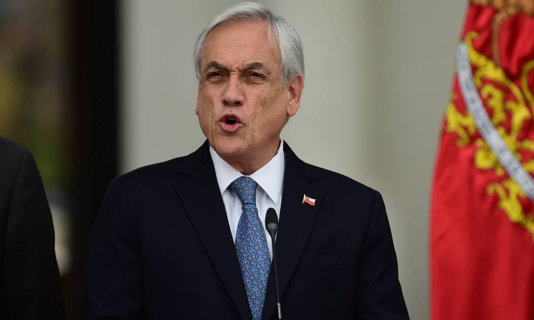Presidente do Chile, Sebastián Piñera, durante discurso em Santiago Foto: JOHAN ORDONEZ / AFP