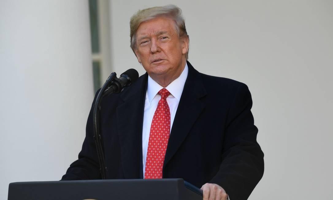 Presidente Donald Trump durante cerimônia comemorativa do feriado de Ação de Graças Foto: SAUL LOEB / AFP/26-11-2019