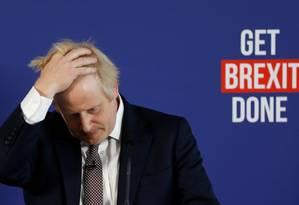 Boris Johnson, durante entrevista coletiva na capital britânica Foto: PETER NICHOLLS / REUTERS