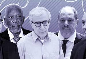 Bryan Singer, Morgan Freeman, Woody Allen, Harvey Weinstein e Kevin Spacey: alguns dos medalhões de Hollywood que entraram na mira do MeToo Foto: Arte O Globo