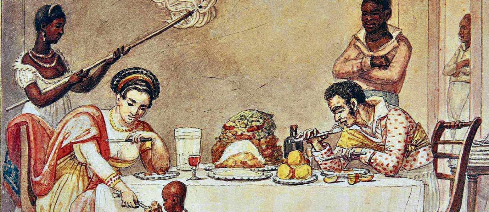 """Problema secular. Tela """"Um jantar brasileiro"""" (1827), de Jean-Baptiste Debret: Pedro Ferreira de Souza usou longas séries históricas para defender sua tese Foto: Divulgação/Museus Castro Maya"""