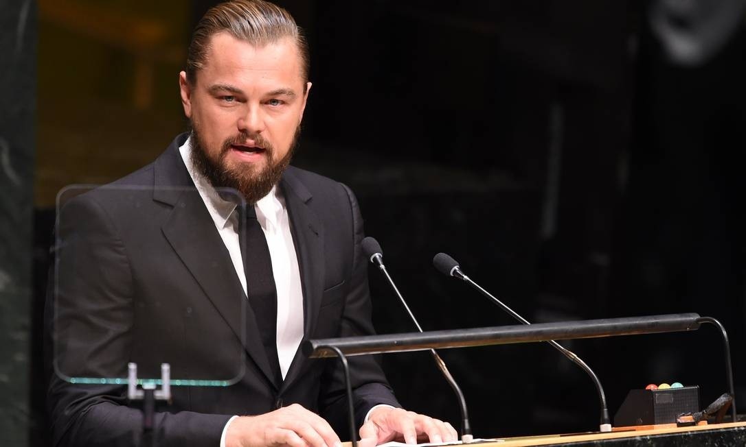 O ator Leonardo DiCaprio discursa durante a abertura de um evento sobre clima nas Nações Unidas, em setembro de 2014 Foto: Don Emmerts / AFP