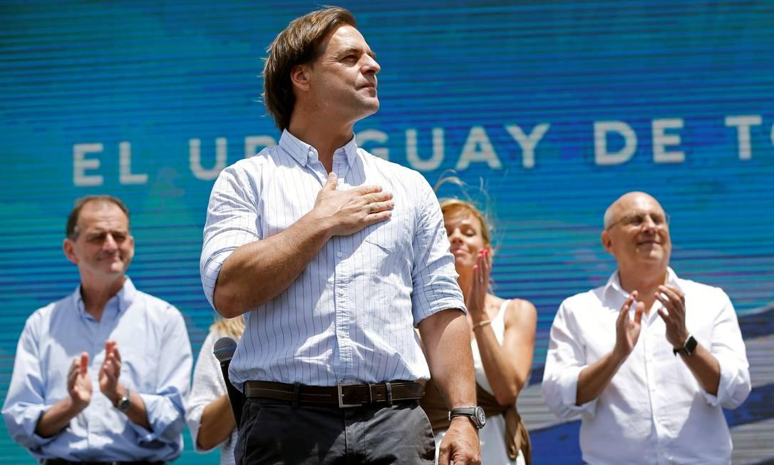 Presidente eleito do Uruguai, Luis Lacalle Pou, durante evento para anunciar sua vitória, em Montevidéu Foto: MARIANA GREIF / REUTERS