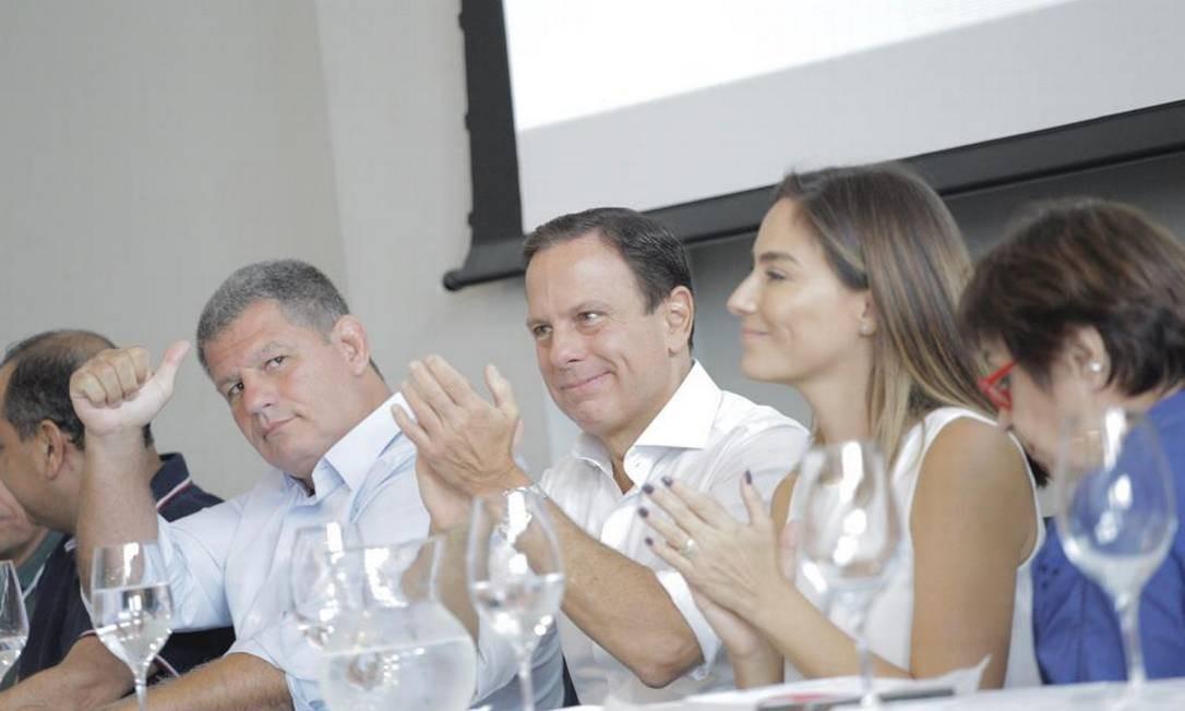 O ex-ministro Gustavo Bebianno, novo filiado ao PSDB, o governador João Doria e a pré-candidata Mariana Ribas Foto: Divulgação