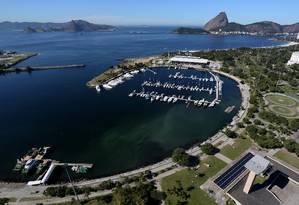 Vista aérea da Marina da Glória. Ao fundo, o Morro da Urca na Urca Foto: Custódio Coimbra / Agência O Globo