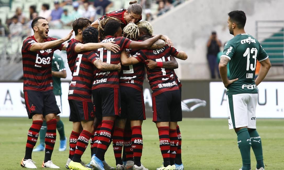 A reação do Palmeiras na segunda etapa não foi suficiente para superar o primeiro tempo fulminante do time carioca Foto: Luis Moura /WPP / Agência O Globo