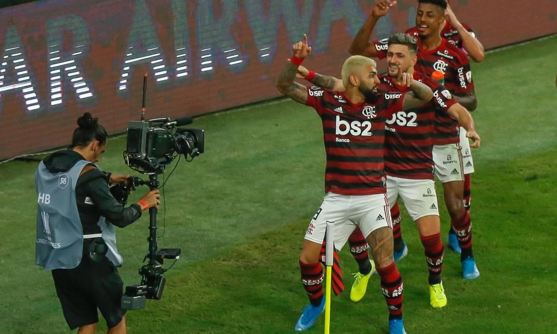 Gabigol, Arrascaeta e Bruno Henrique somam 92 gols no ano. Com 80 gols no campeonato, Flamengo é o time a fazer mais gols em uma edição na era dos pontos corridos Foto: Marcelo Regua/23-10-2019 / Agência O Globo