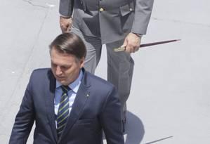 Bolsonaro participa de solenidade na Academia Mmilitar das Agulhas Negras (Aman), em Resende Foto: Domingos Peixoto / Agência O Globo