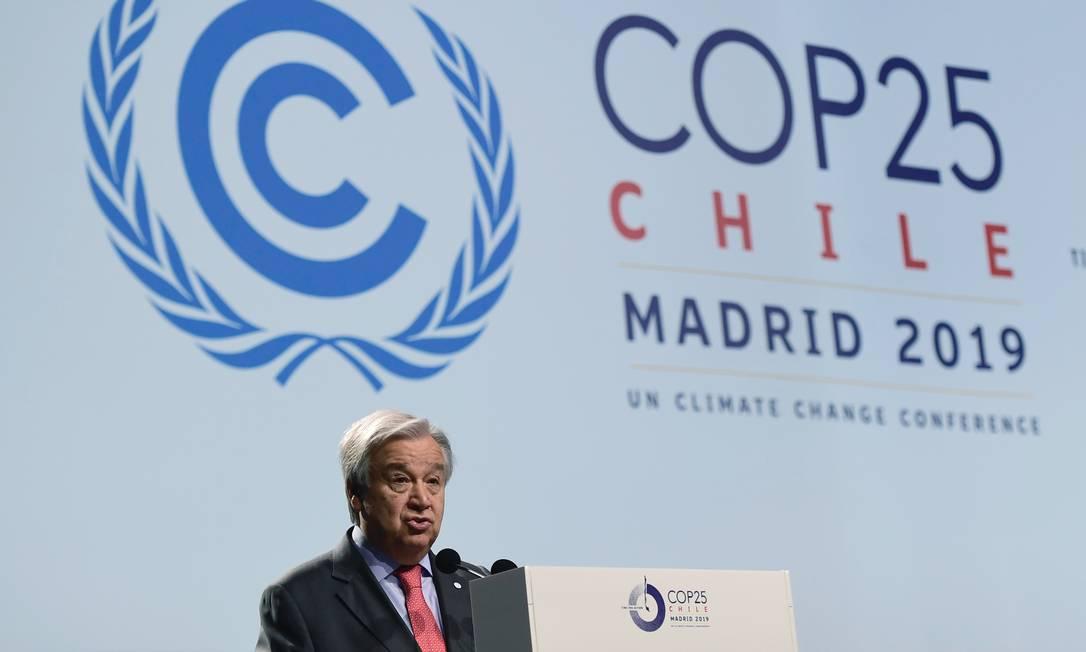 Secretário-geral da ONU, António Guterres, discursa durante abertura da COP-25 em Madri Foto: CRISTINA QUICLER / AFP