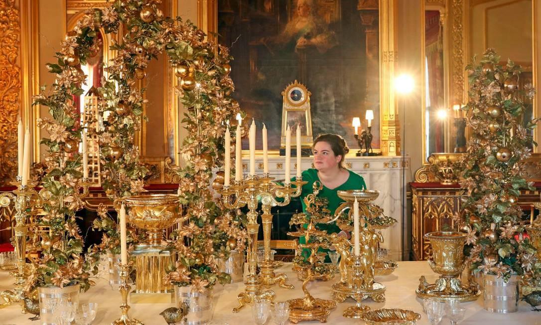 A luxuosa mesa de jantar do Castelo de Windsor Foto: Steve Parsons - PA Images / PA Images via Getty Images