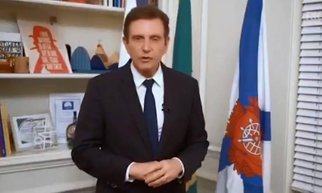 Crivella diz em vídeo que não responderá mais ao GLOBO Foto: Reprodução