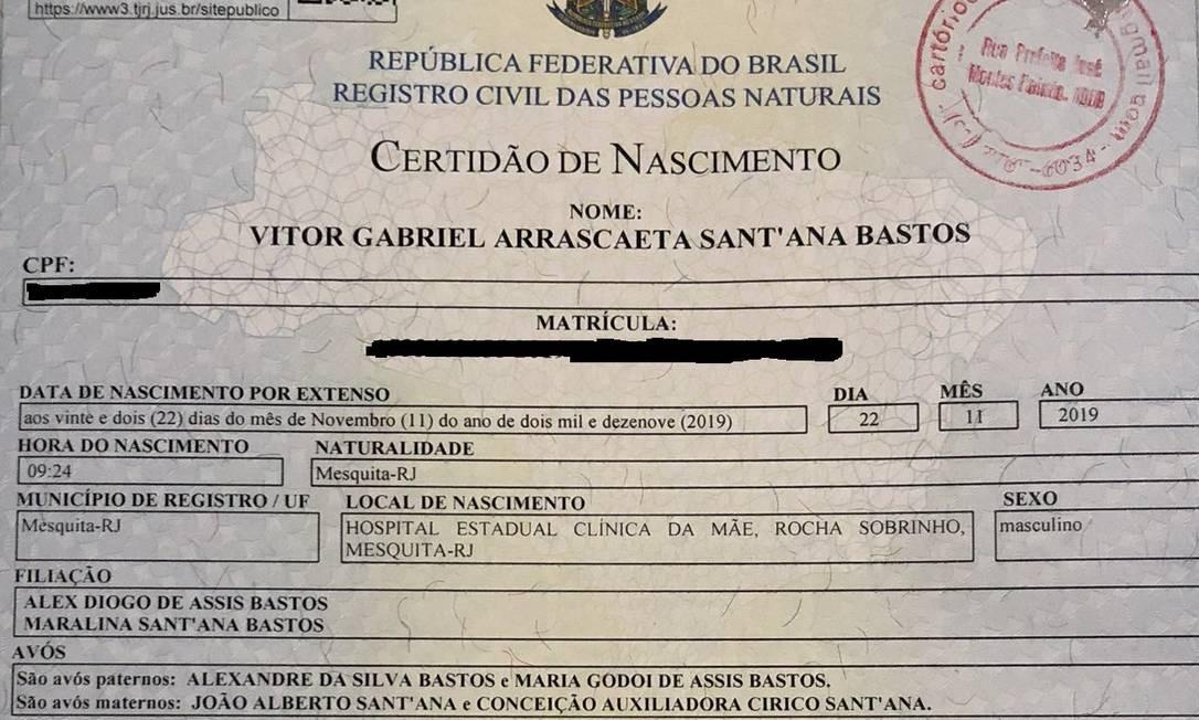 Certidão de nascimento de Vitor Gabriel Arrascaeta Foto: Reprodução