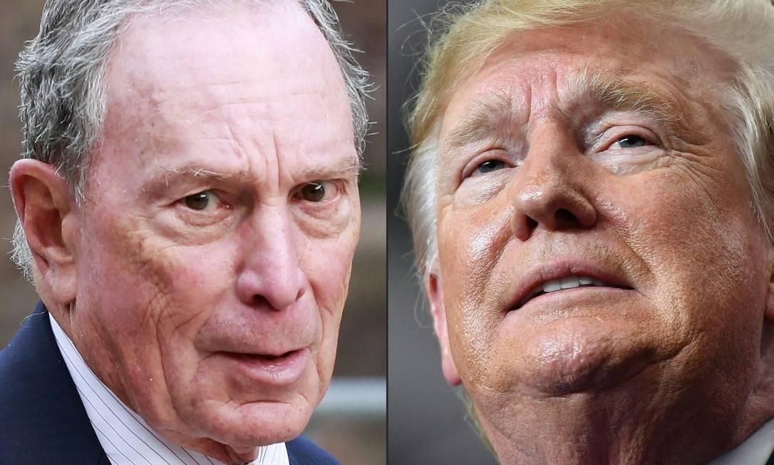 Montagem com fotos do pré-candidato democrata à Presidência dos EUA, Michael Bloomberg, e presidente dos EUA, Donald Trump Foto: AFP