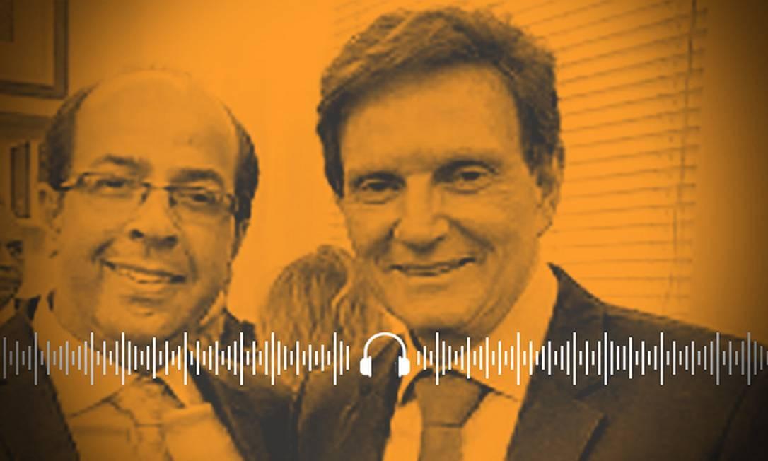 Prefeito Marcelo Crivella e Rafael Alves. Relações são investigadas pelo MP do Rio de Janeiro Foto: Arte