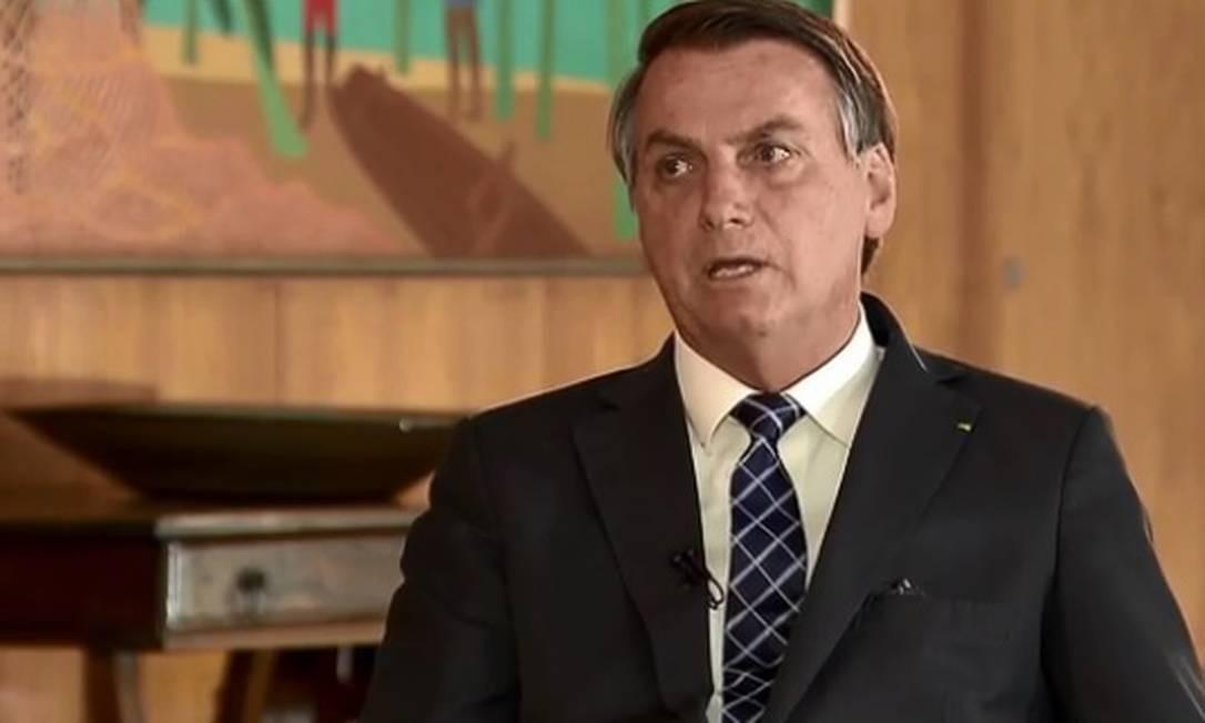 O presidente Jair Bolsonaro em entrevista à Record TV Foto: Reprodução / Record