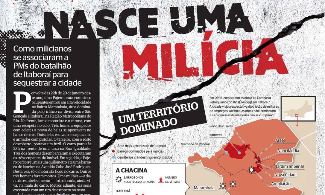 Publicada em julho, a matéria revelou o envolvimento de PMs com a milícia que atua em Itaboraí Foto: Extra / Reprodução