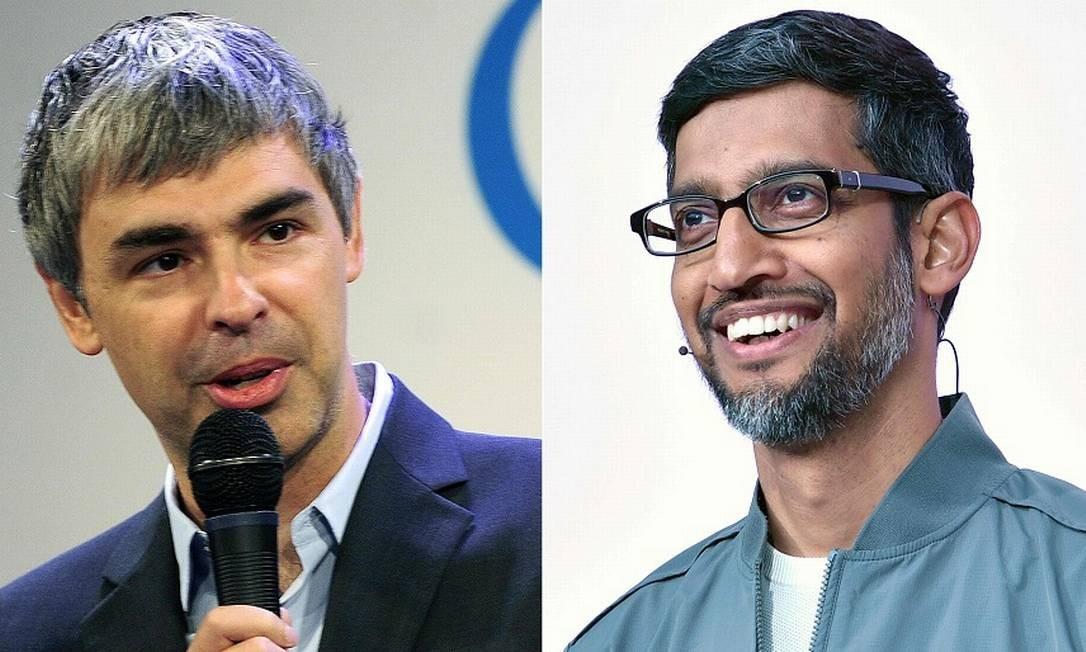 Pichai (à direita) substituirá Page no comando da Alphabet. Foto: AFP