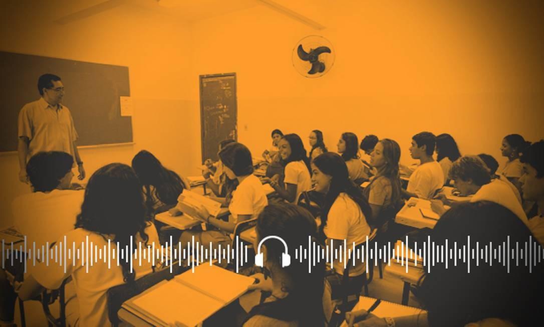 Estudantes em sala de aula; Brasil tem notas ruins em avaliação internacional da qualidade do ensino Foto: Arte