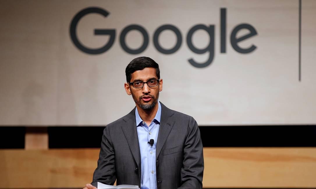 Sundar Pichai entrou no Google em 2014 e agora assume o comando do grupo Alphabet, que controla a gigante de tecnologia Foto: Brandon Wade / Reuters