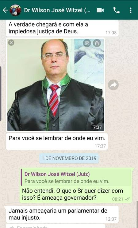 WhatsApp Foto: As mensagens que teriam sido trocadas com o governador Wilson Witzel