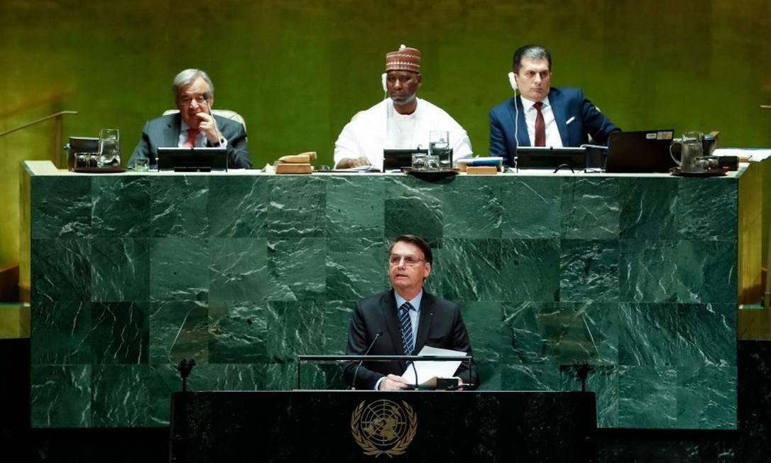 Bolsonaro discursa na Assembleia Geral da ONU, em setembro Foto: Alan Santos / Presidência da República/24-9-2019