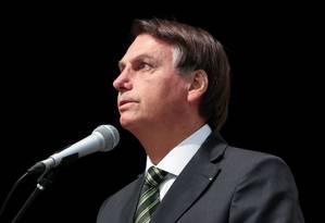 O presidente Jair Bolsonaro discursa em solenidade no Palácio do Planalto Foto: Marcos Corrêa/Presidência