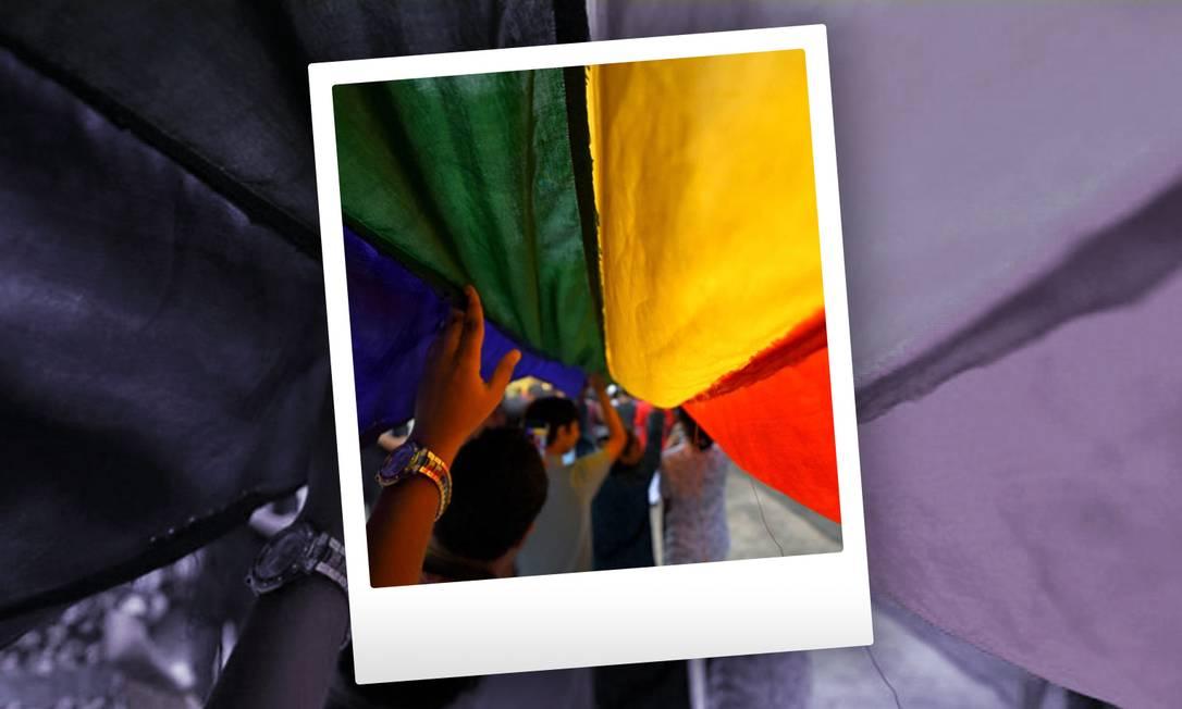 Bandeira do movimento LGBT+ Foto: Getty Images com arte de Ana Luiza Costa